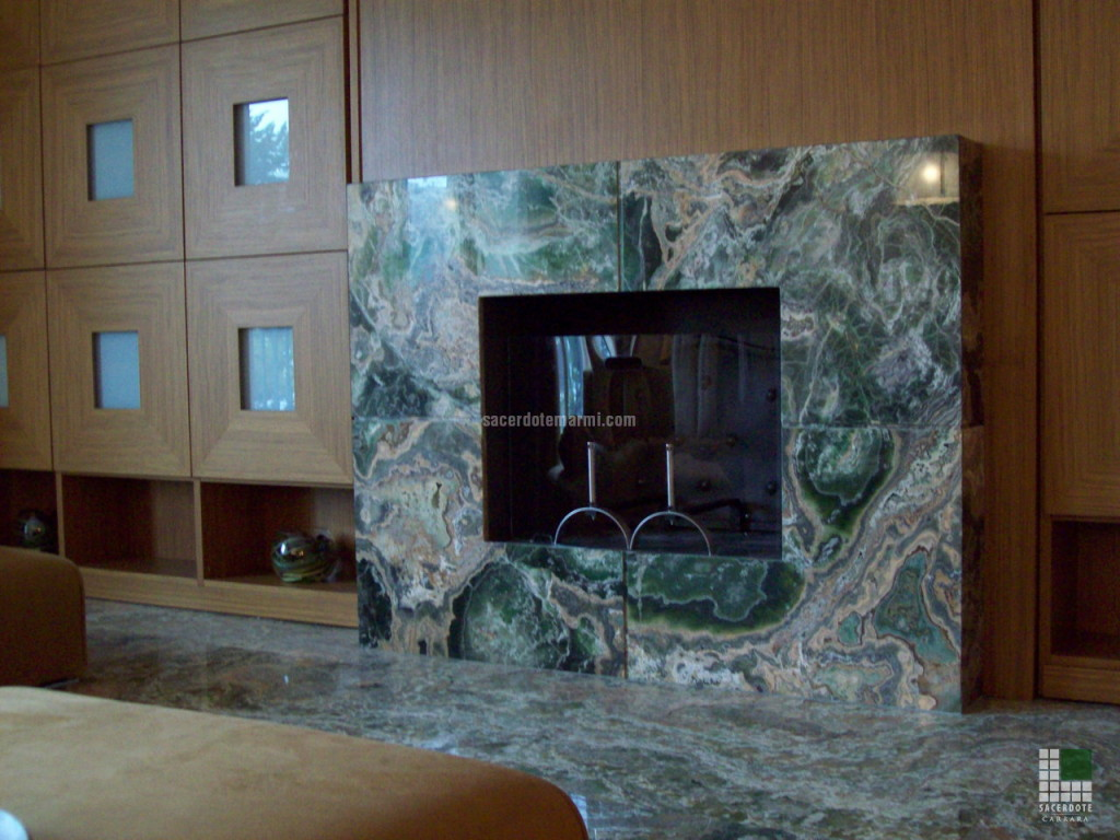 Fireplace panelled with Emerald Onyx