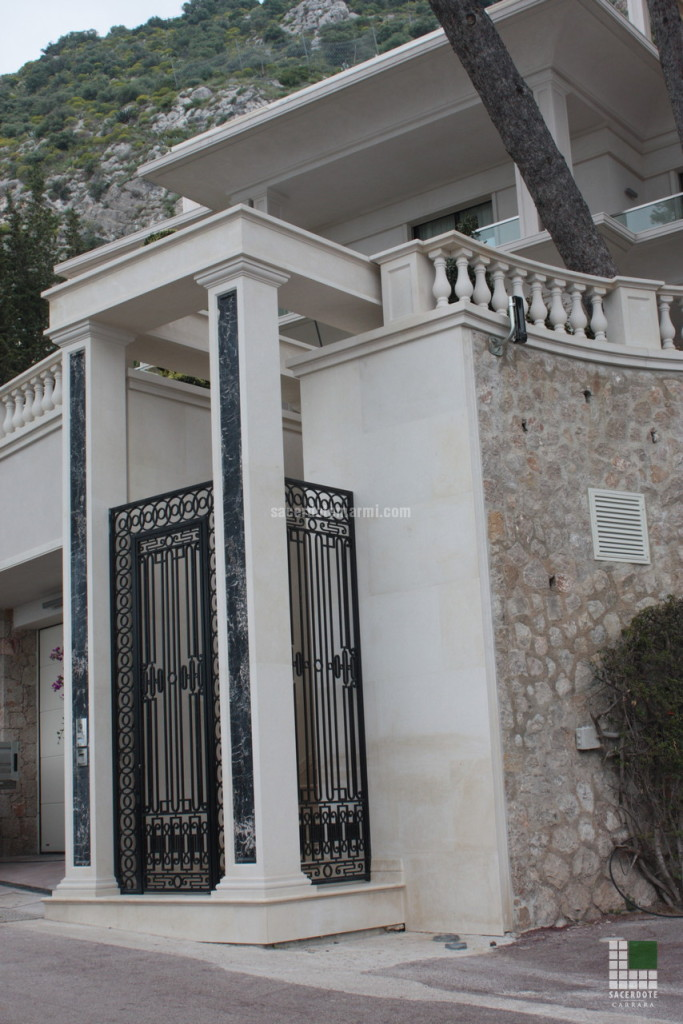 External view - columns panelled with Portoro marble