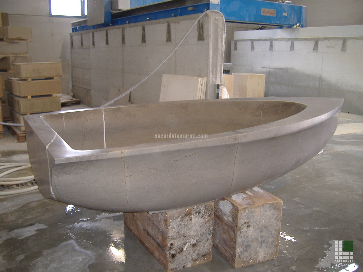 Boat Bathtub Realised With Stone Grey