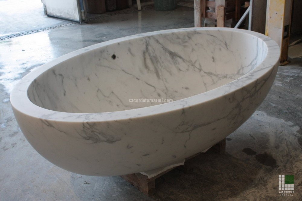 Bathtub Realised With Monolithic White Statuario Marble And Overflow Drain