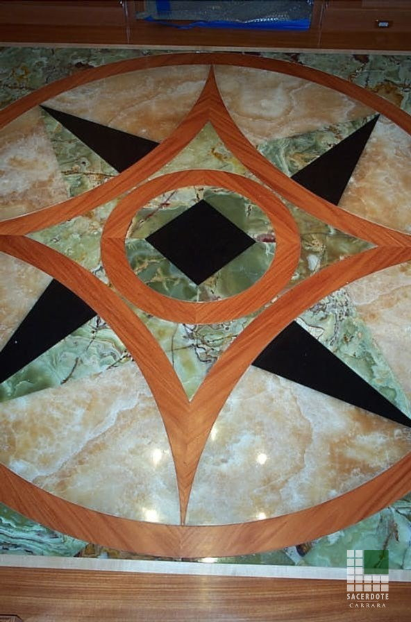Flooring with wood, Green Pakistan Onyx and Honey Onyx inlays