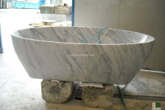 White Carrara marble bathtub