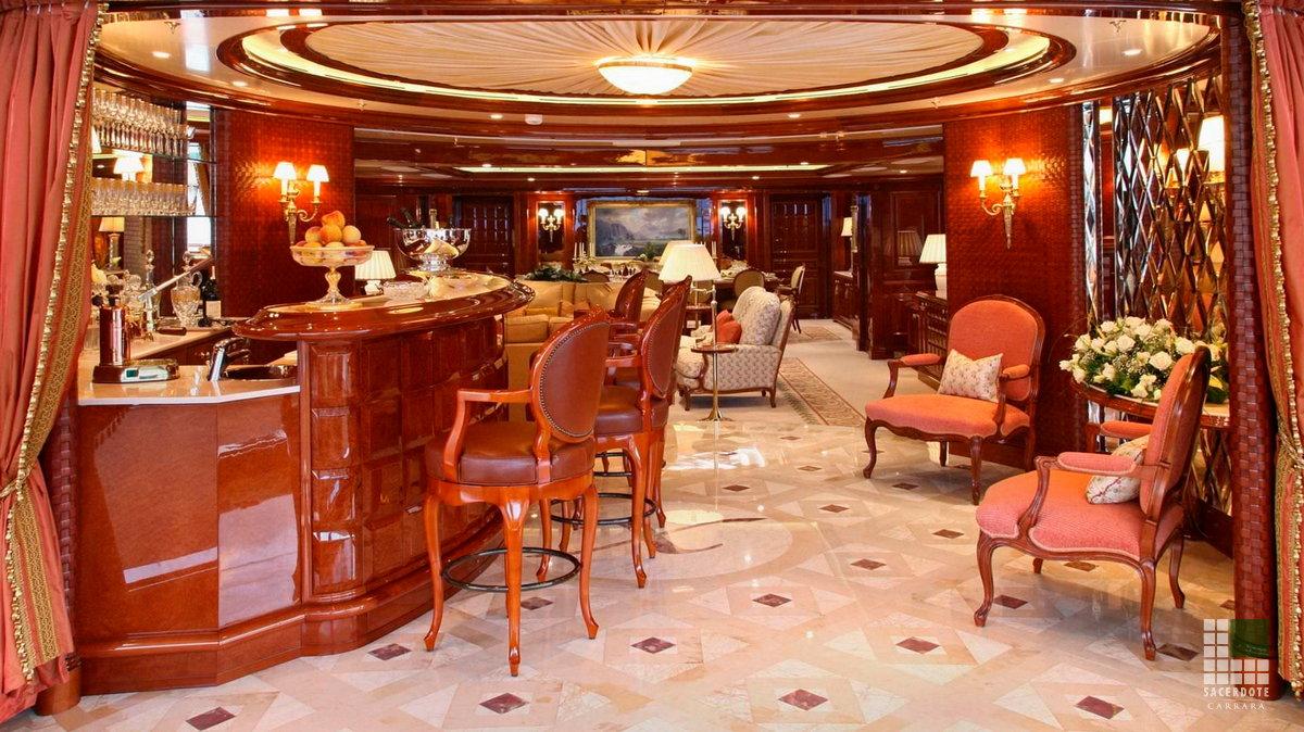 dallages et salles de bain en marbre sur le yacht xanadu. Black Bedroom Furniture Sets. Home Design Ideas
