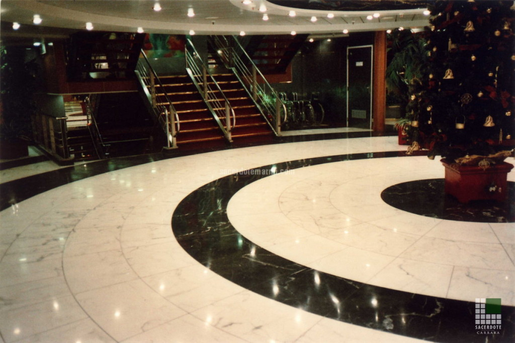Hall with White Statuario and Guatemala Green marble flooring
