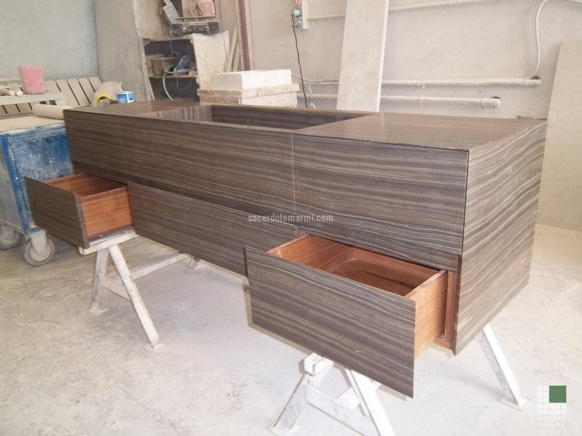 mobili in marmo e legno - sacerdote marmi - carrara - lavorazione ... - Arredo Bagno In Marmo