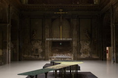 """Garda"" table with top and legs realised with green marble by Massimiliano Locatelli"