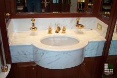 Lavabo a massello in marmo Bianco Statuario