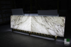 Backlit White Carrara marble on glass